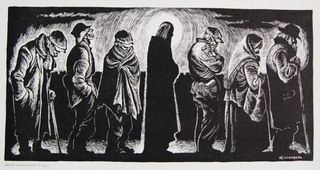 "Fritz Eichenberg, ""Christ of the Breadlines,"" woodcut, 1950."