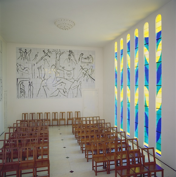 View of the Nave, Stained Glass Side Window and Stations of the Cross in the Chapel of the Rosary at Vence, 1948-51 (stained glass & ceramic tile)