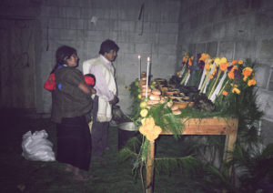 """""""Altar"""" — The food and candles for the dead are on the table. Genaro Sántiz Gómez,1996. Tsotsil ethnic group."""