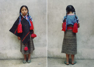 """""""Retrato"""" diptych — My little sister Cristina is looking at the camera in her traditional clothing. Xunka' López Díaz, 2000. Tsotsil ethnic group."""